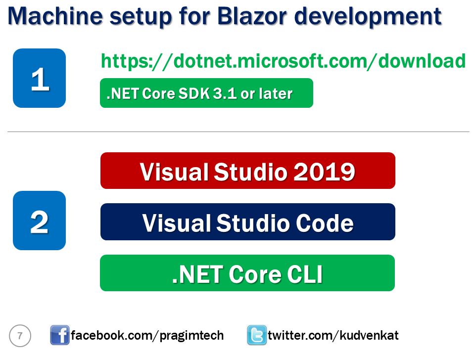 machine setup for blazor
