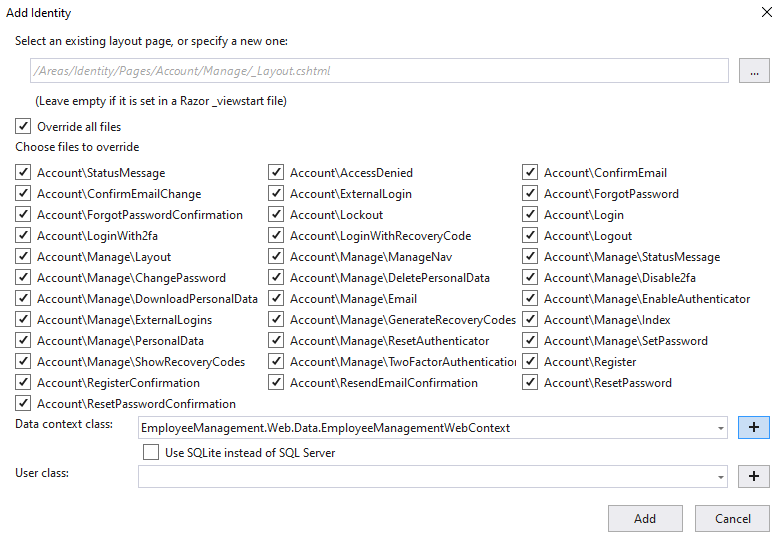 asp.net core add identity to existing project
