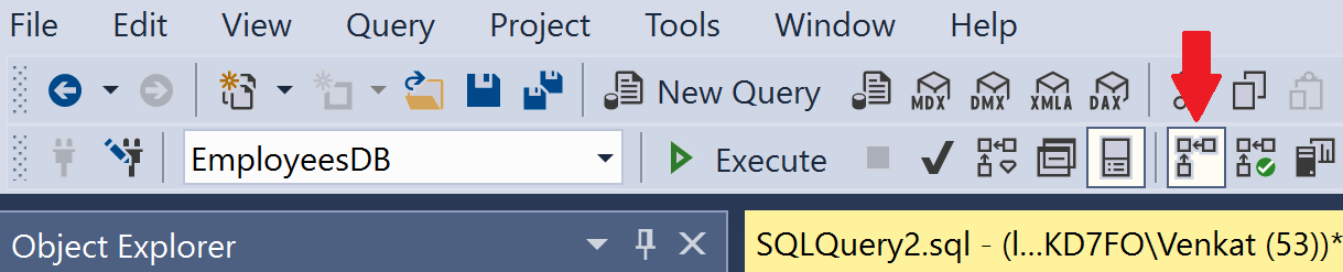 include actual execution plan in sql server
