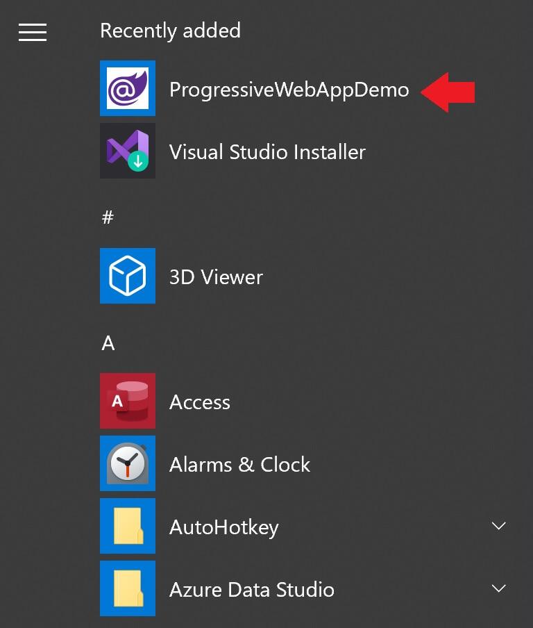 progressive web app in windows start menu