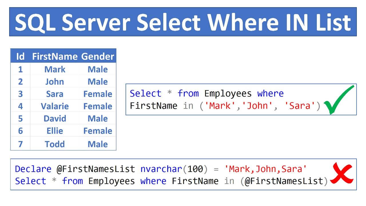 sql server where id in list