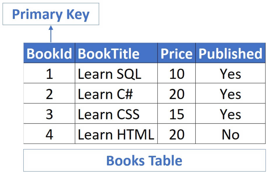 what is primary key with example