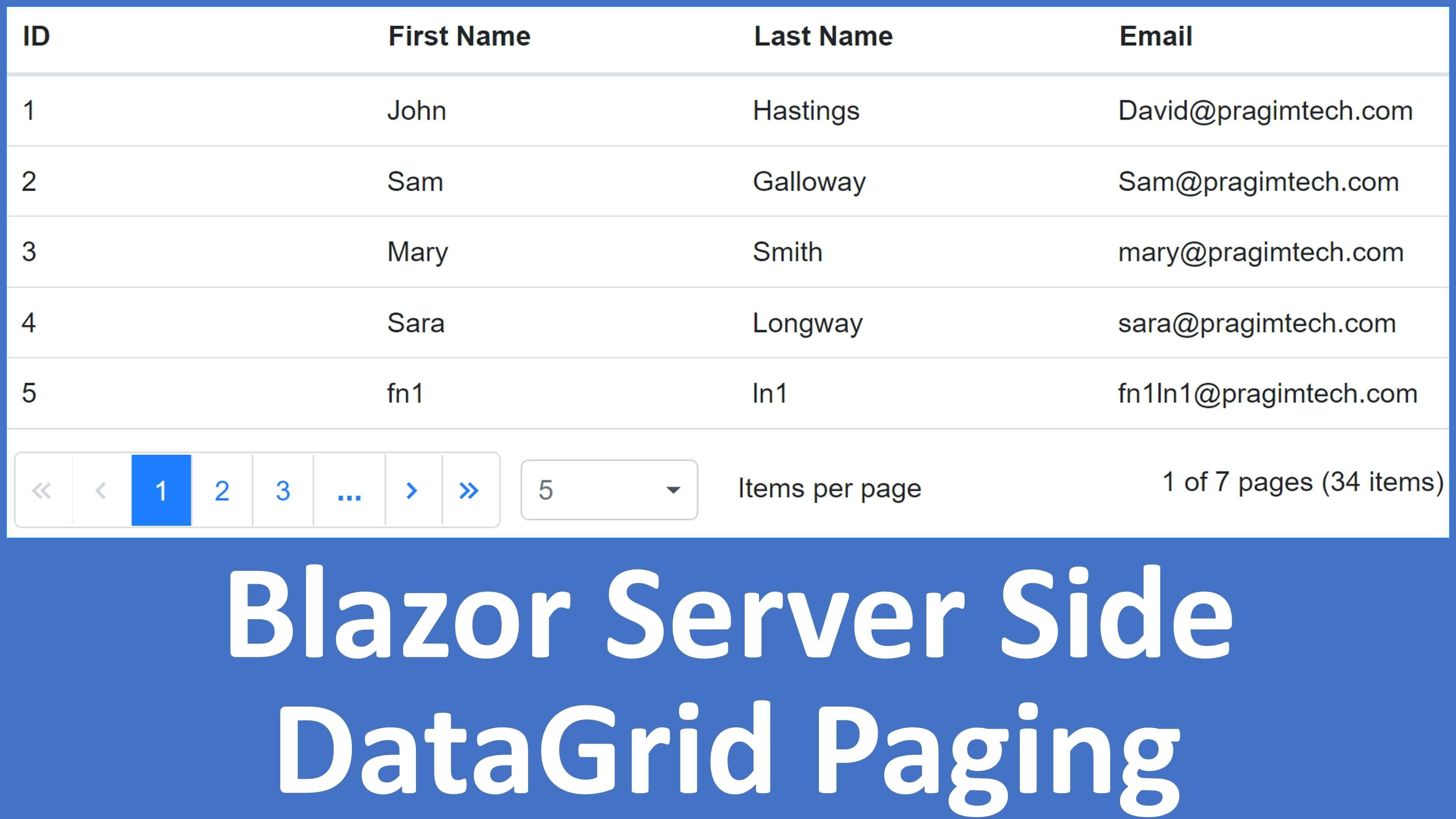 asp.net core   datagrid server side paging