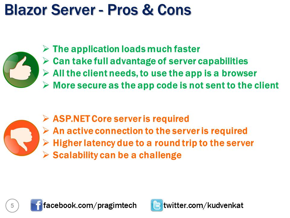 blazor server pros and cons