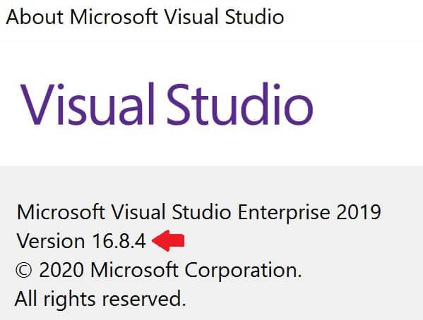 how to check visual studio version