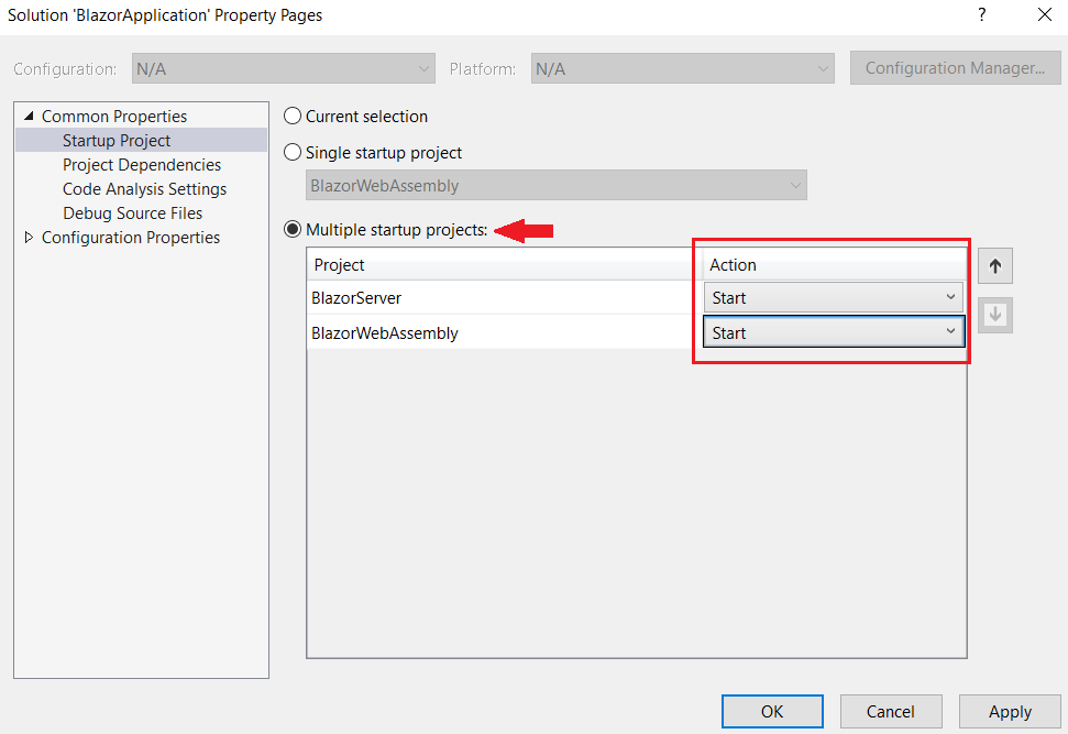visual studio 2019 multiple startup projects